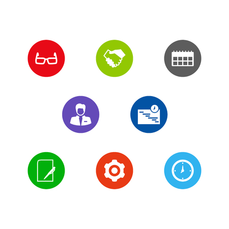 Collection Of Pen, Spectacles, Worker And Other Elements.  Set Of 8 Management Icons Set.