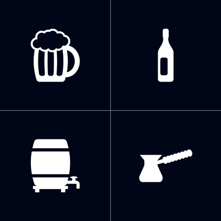Set Of 4 Drinks Icons Set. Collection Of Mug, Wine, Turkish Coffee And Other Elements. Illustration