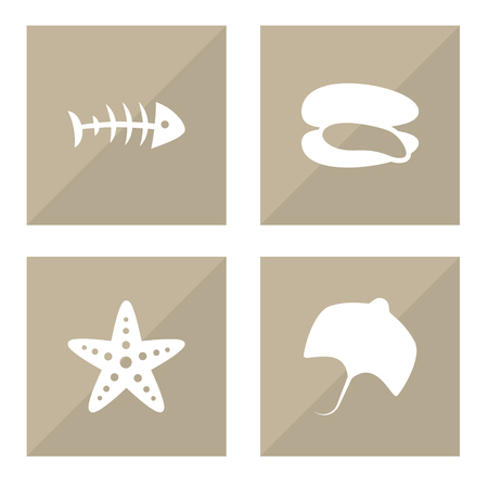 Collection Of Sea Star, Stingray, Remains And Other Elements.  Set Of 4 Sea Icons Set.