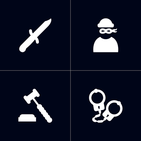 Collection Of Manacles, Judge Gavel, Bayonet And Other Elements.  Set Of 4 Crime Icons Set.