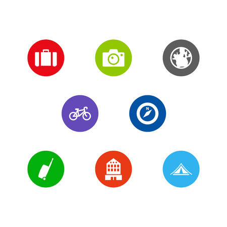 Set Of 8 Relax Icons Set. Collection Of Booth, Suitcase, Photo Apparatus And Other Elements.