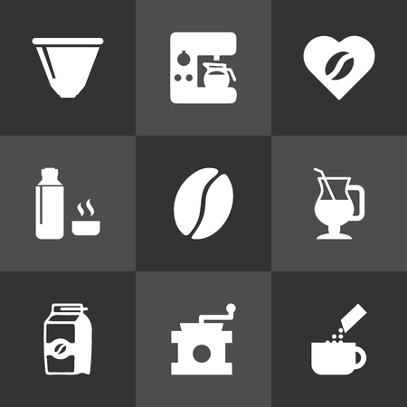 Set Of Drink Icons Set.Collection Of Seed Pack, Latte, Espresso Dispenser And Other Elements.