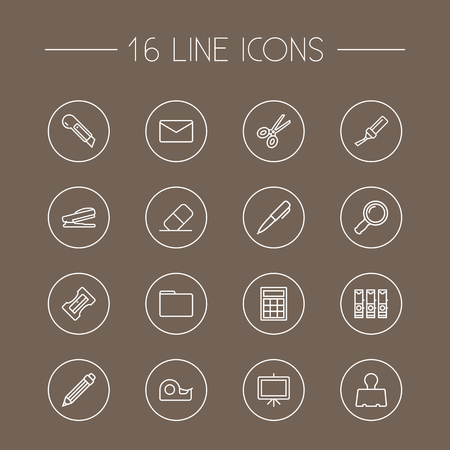 Set Of 16 Instruments Outline Icons Set.Collection Of Puncher, Drawing, Marker And Other Elements.