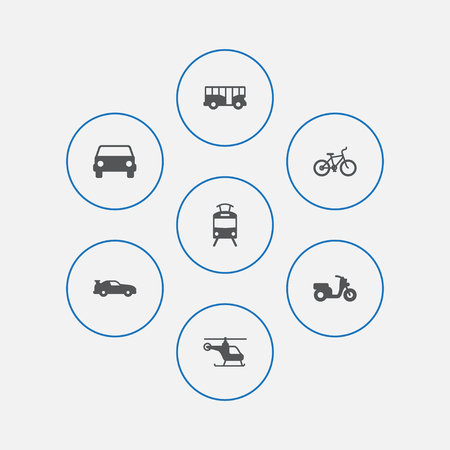 Set Of 7 Shipping Icons Set.Collection Of Cabriolet, Autobus, Bicycle And Other Elements. 일러스트
