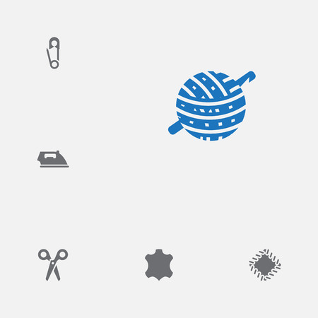 Set Of 6 Tailor Icons Set. Collection Of Knitting, Pintle, Cutter And Other Elements.