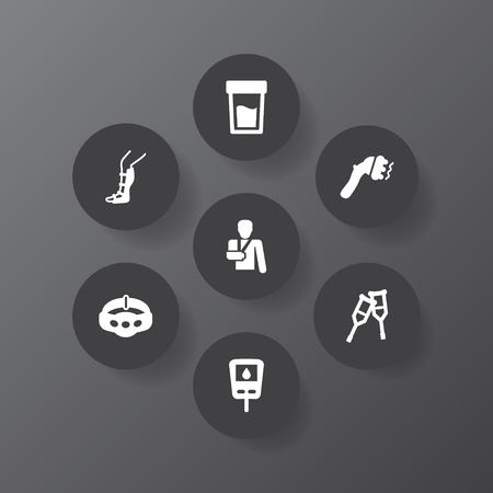 Collection Of Splint, Diabet, Slimming And Other Elements.  Set Of 7 Medicine Icons Set.