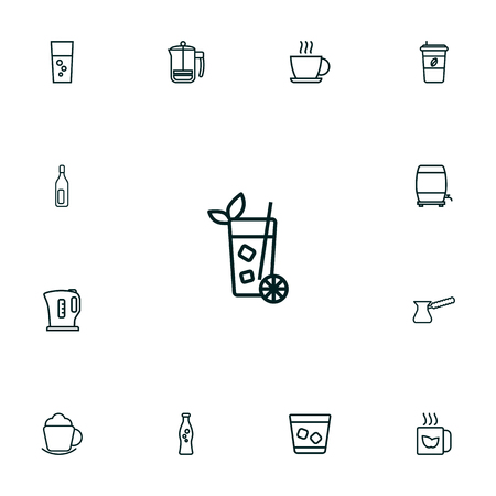 Collection Of French Press, Soda, Kettle And Other Elements.  Set Of 13 Drinks Outline Icons Set.