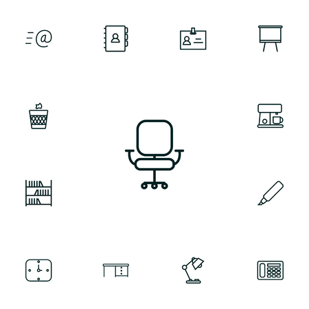 Set Of 13 Office Outline Icons Set. Collection Of Badge Id, Chair, Marker And Other Elements.