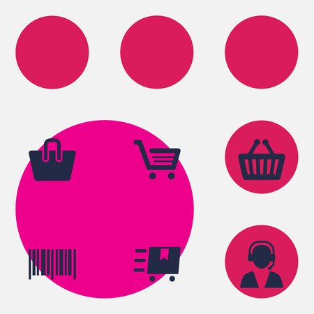 Collection Of Cargo, Online Support, Handbag Elements. Set Of Shopping Icons Set.