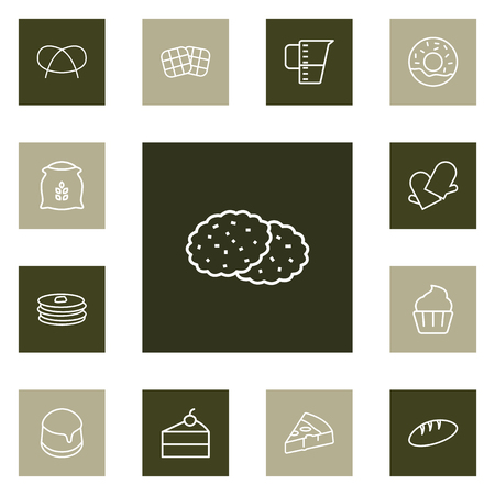 Set Of Bakery Outline Icons Set.Collection Of Cupcake, Pudding, Pretzel And Other Elements.