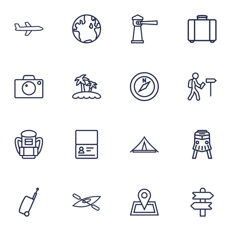 Collection Of Awning, Certificate, Palm And Other Elements.  Set Of 16 Relax Outline Icons Set.
