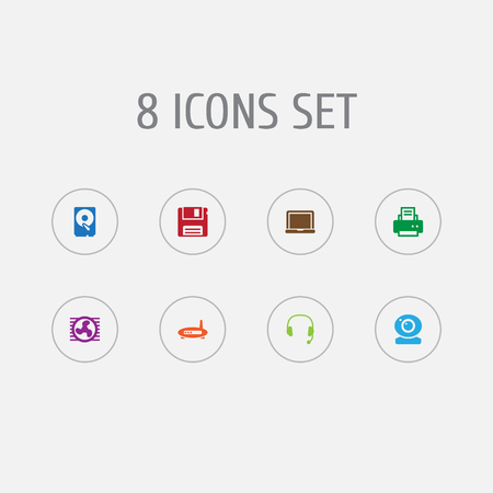 Collection Of Hard Disk, Headset, Peripheral And Other Elements.  Set Of 8 Computer Icons Set.