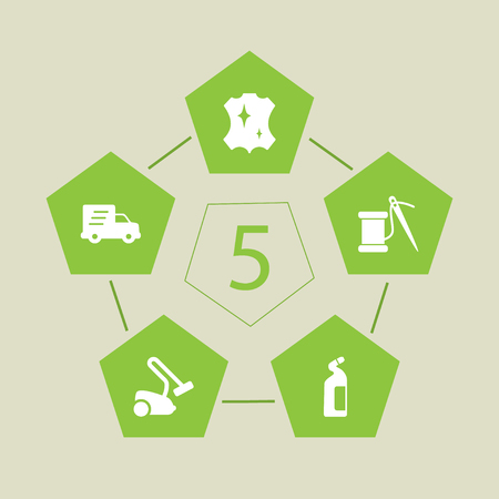 Set Of 5 Cleanup Icons Set.Collection Of Detergent, Shipping, Sewing And Other Elements.