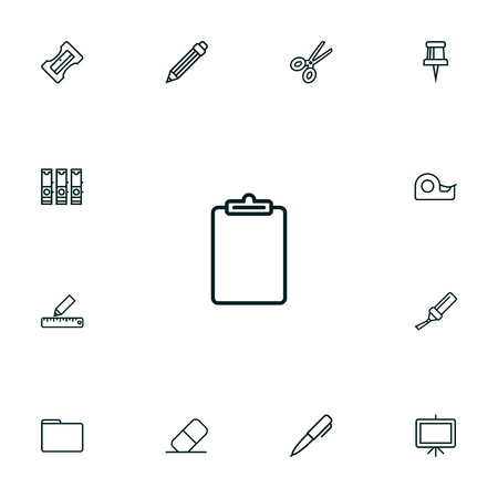 Set Of 13 Instruments Outline Icons Set.Collection Of Marker, Sticky, Pushpin And Other Elements.