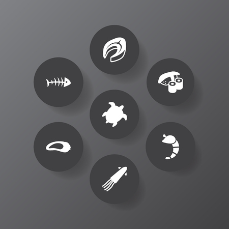 Collection Of Calamary, Crustaceans, Tortoise And Other Elements.  Set Of 7 Food Icons Set.