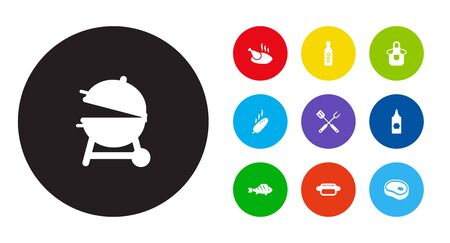 Collection Of Bbq Sauce, Kitchen Uniform, Beefsteak And Other Elements. Set Of Barbecue Icons Set.