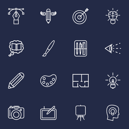 Collection Of Graphic Tablet, Idea, Vision And Other Elements. Set Of Constructive Outline Icons Set. Çizim