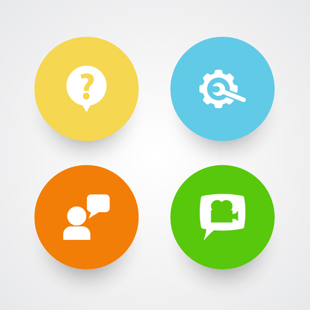 Set Of 4 Support Icons Set.Collection Of Help, Assistant, Blog And Other Elements.