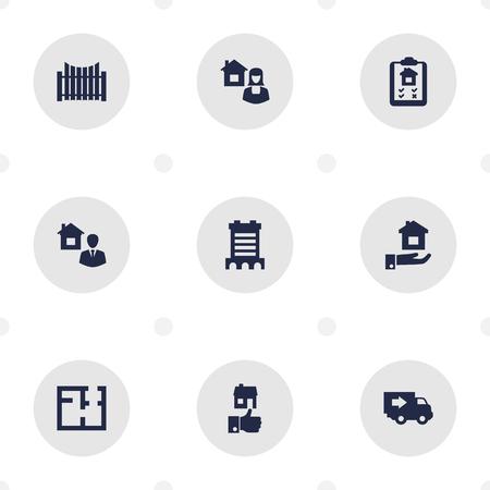 Sammlung von Immobilienmakler, Wolkenkratzer, Barriere und andere Elemente. Reihe von Eigenschaft Icons Set. Standard-Bild - 93195830