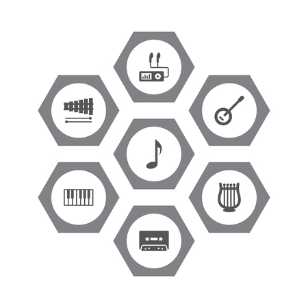 Collection Of Percussion, Lyre, Banjo And Other Elements.  Set Of 7 Song Icons Set.  Vectores