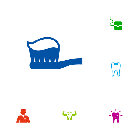 Set of teeth icons set. Collection of seal, children dental, toothbrush and other elements.