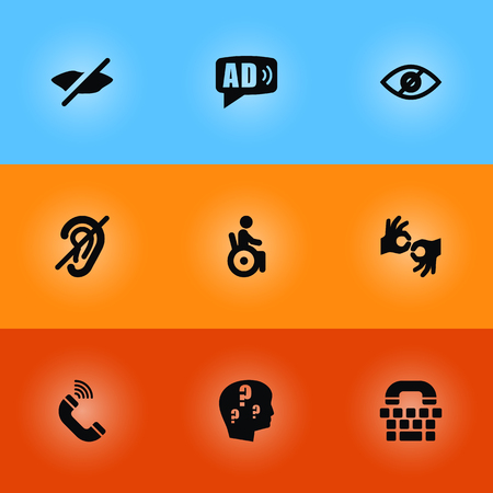 Set of disabled icons set. Collection of ad, tty, blindness and other elements. Illustration