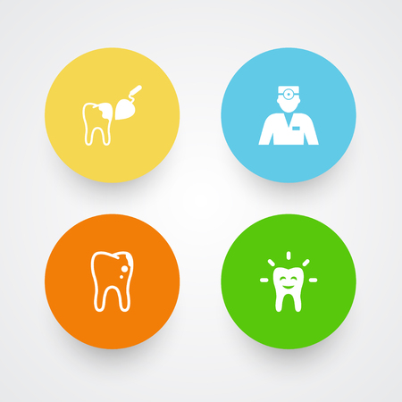 Set of 4 teeth icons set. Collection of dentist, tooth, decay and other elements. Standard-Bild - 93439976