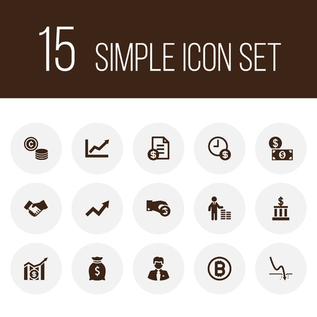 Set of 15 budget icons set