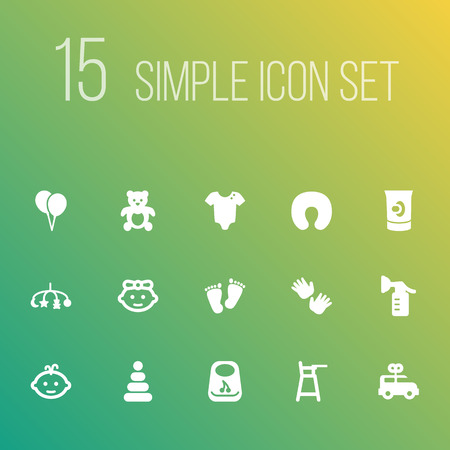 Set of 15 child icons set. Collection of balloon, bib, clockwork car and other elements. Ilustracja
