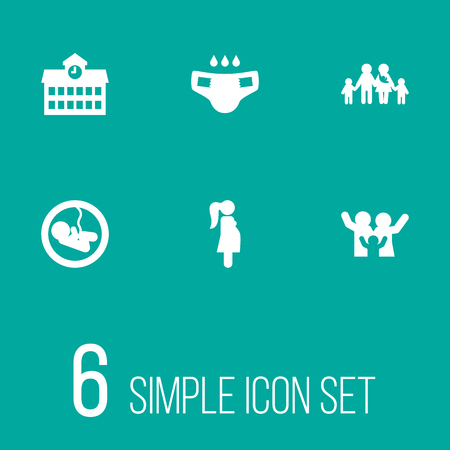 Set of 6 relatives icons set. Collection of large family, school, pregnant woman and other elements. Ilustração