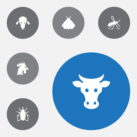 Set of 6 zoo icons set. Collection of cow, cock, sheep and other elements. Ilustracja