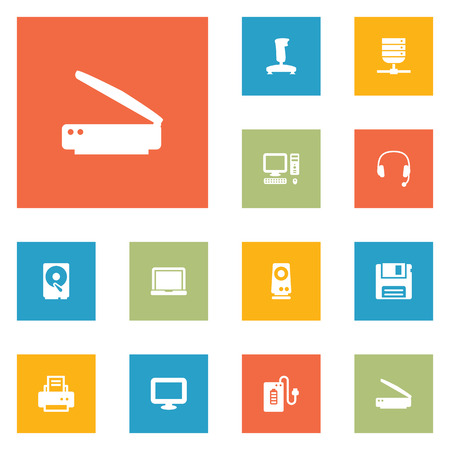 Set of 12 notebook icons set. Collection of speaker, floppy, powerbank and other elements. Illustration