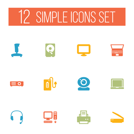 Set of 12 laptop icons set. Collection of projector, scanner, headphone and other elements.