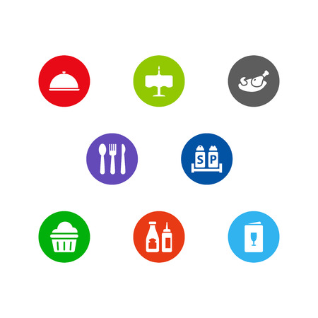 Set of 8 restaurant icons set. Collection of grill, dinner desk, muffin and other elements. Stock Photo