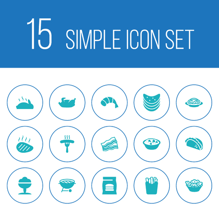 Set of 15 eat icons set. Collection of fried duck, bacon, tacos and other elements.