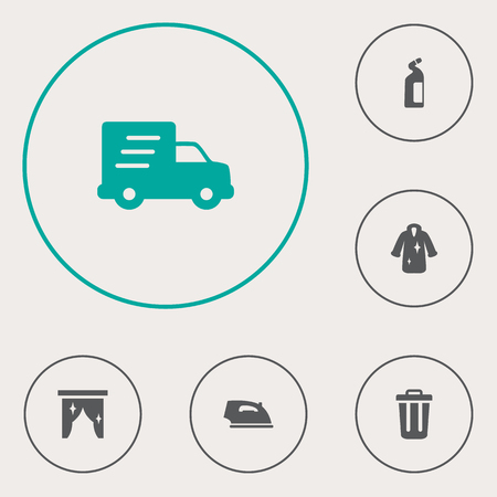 Set of 6 cleaning icons set. Collection of fur, delivery, ironing and other elements. Иллюстрация