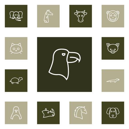 Set van dieren pictogrammen lijn stijlenset. Verzameling van hagedis, kat, pinguïn en andere elementen. Stock Illustratie