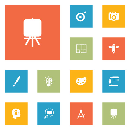 Set of constructive icons set. Collection of knowledge, compasses, target and other elements.