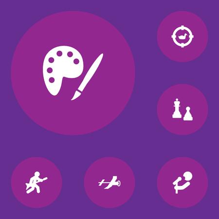 Ensemble de 6 icônes hobbie. Collection de guitare, chasse, peinture et autres éléments. Banque d'images - 94356637