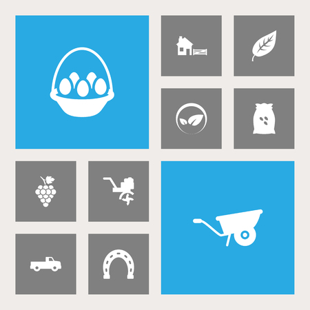 Set of 10 agriculture icons set. Collection of ecology, pickup, sack and other elements.