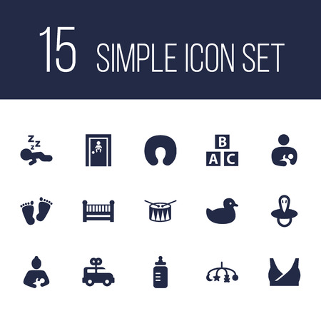 Set of 15 child icons set. Collection of mother, alphabet cubes, drum and other elements. Ilustracja