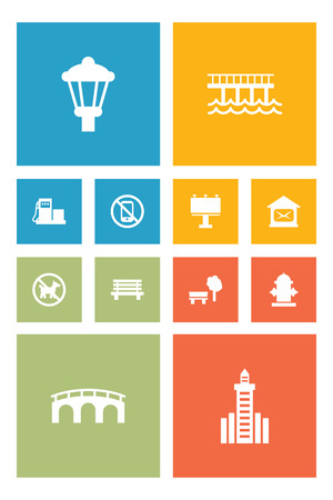 Set of 12 city icons set. Collection of no mobile device, bench, bridge and other elements.
