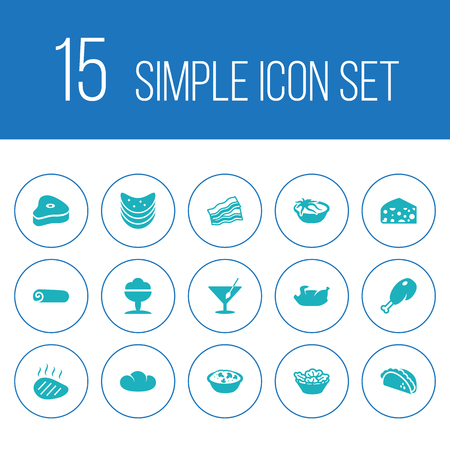 Set of 15 dish icons set. Collection of veal, beefsteak, chicken leg and other elements.