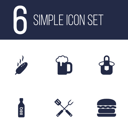 Set of 6 barbecue icons set. Collection of corn, bottle, bbq tool and other elements.
