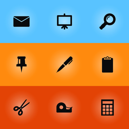Set of 9 tools icons set. Collection of whiteboard, zoom glasses, sticky and other elements. Illustration
