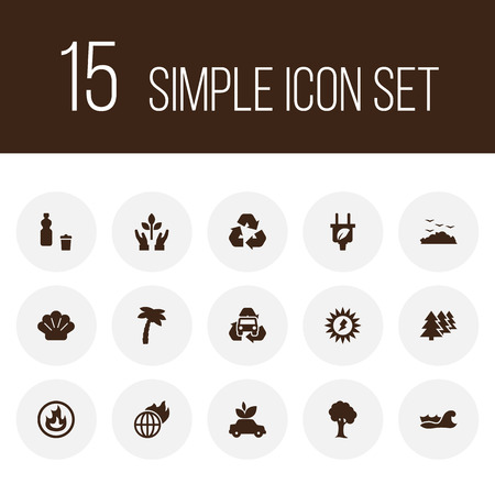 Set of 15 ecology icons set. Collection of nature, afforestation, global warming and other elements.