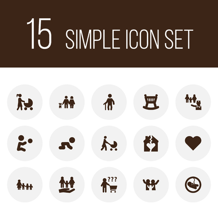 Set of 15 family relatives icons set. Collection of pregnancy, boy, doctor and other elements.