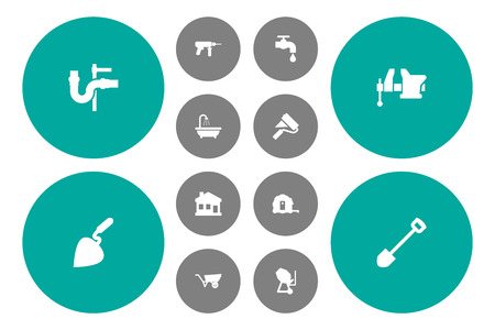 Set of 12 work icons set. Collection of wheelbarrow, shovel, vice and other elements.