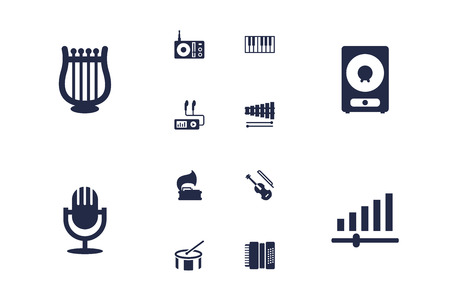 Set of 12 melody icons set. Collection of gramophone, mp3 player, xylophone and other elements.