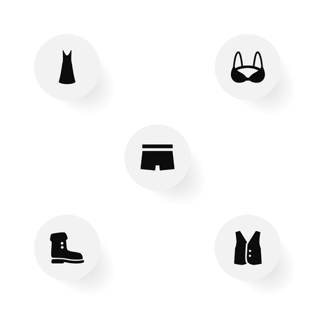 Set of clothes icons set. Collection of boot, slip dress, bra and other elements.
